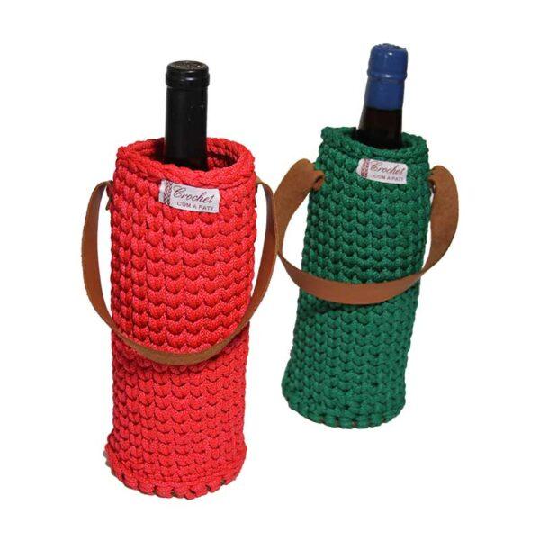 porta vinho de crochet